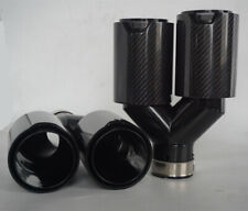 "Dual Pipe Car Exhaust Tip Stainless Carbon Fiber 2.5"" Inlet for BMW Performance"