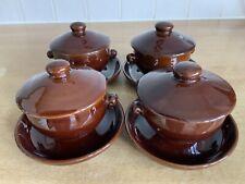 Denby / Bourne Homestead Brown 4 x Lidded Soups Bowls & Stands