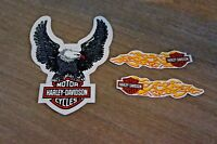 Harley Davidson Silver Eagle Window Decal Sticker Outside Plus Mini Tank Set