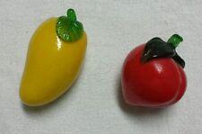 2 Pc Retro Glass Fruit - Apricot Papaya - FREE SHIPPING