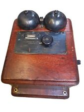 Antique Telephone Exchange Ringer Box Bell Wall Mounted Hand Cranked by124a