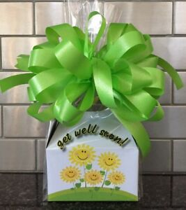 Get Well Soon Candy Gift Box-Basket Wrapped With Neon Green Bow & Card