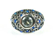 .50ct Natural Blue Topaz and Opal Victorian Deco Sterling Filigree Ring 1019B