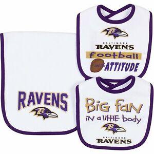 NFL Infant Baltimore Ravens Dribbler Bibs & Burp Cloth Set, One Size