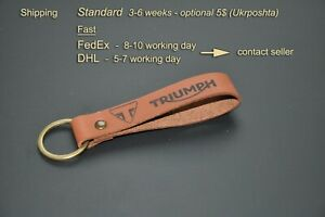 Triumph keychain keyring leather. Personalized keychain.
