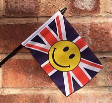 """UNION JACK WITH SMILEY FACE SMALL HAND WAVING FLAG 6""""X4"""" flags"""