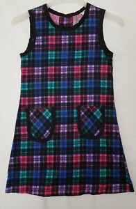 CATHERINE REBECCA Vtg Girl's Corduroy Plaid Sleeveless Jumper Dress sz 12 (D2)