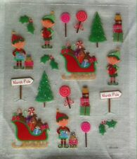 19 Glitter Christmas Stickers - Elf, Sleigh, North Pole, Holly, Candy, etc