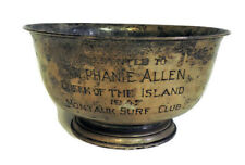 """1947 AWARD CUP STERLING SILVER """"QUEEN OF THE ISLAND"""" MONTAUK NY SURF CLUB 385G"""
