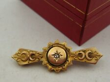 An Attractive 9ct Gold Chester Hallmarked Etruscan Revival Diamond Set Brooch!