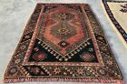 Distressed Hand Knotted Vintage Turkish Wool Area Rug 3.7 x 2.5 Ft