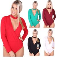Womens Plain Long Sleeve Choker V Neck Bodysuit Ladies Wrapover Leotard Top
