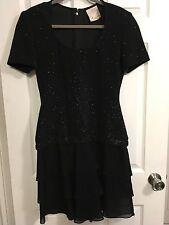 Kathryn Dianos classic black dress WITH BLACK SPARKLES SZ 8  EVENING DRESS