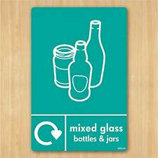 Mixed Glass & Bottles Recycling Sign A5 148x210mm Vinyl Sticker WRAP Recycle