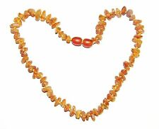 Raw unpolished Baltic amber baby necklace, cognac color beads 33 cm /13 inch