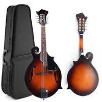Paulownia Wood Solid F-Style Sunburst Mandolin 8 String 24 Fred with Case Gift