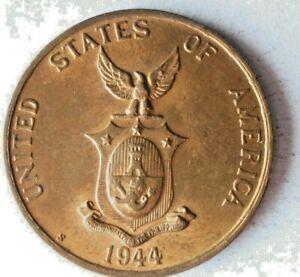1944 S PHILIPPINES CENTAVO - AU - Excellent WW2 Era Coin - Lot #A11