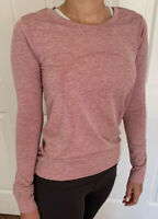 Lululemon Size 6 Swiftly Relaxed LS Red CHRT/WHT Top Run Long Sleeve Mesh Crew