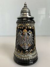 Zoller & Born Eagle Crest Black Gold Pewter Lid Beer Stein Made in Germany
