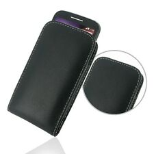 Pdair Hand Made Leather Vertical Pouch Case Cover for Motorola Moto E - Black
