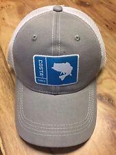 BRAND NEW COSTA DEL MAR MESH ADJUSTABLE CAP HAT ORIGINAL PATCH BASS GRAY WHITE