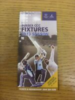 2013 Cricket: Sussex County Cricket Club - Fixtures Booklet, Fold Out Style. If