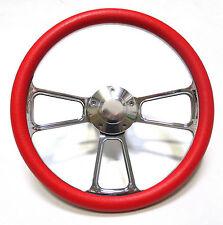 1961 - 1966 Dodge Dart Billet and Red Steering Wheel, Full Install Kit, Horn