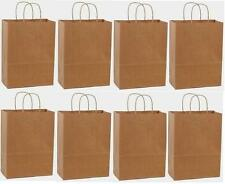 50 10x5x13 Kraft Brown Paper Handle Shopping Gift Merchandise Carry Retail Bags