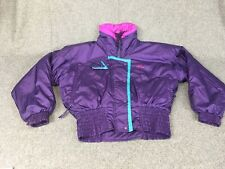 VINTAGE 80'S WOMEN'S SUN ICE SKI JACKET PURPLE/HOT PINK PUFFER SIZE M 12