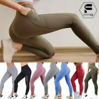 Womens YOGA Sport Pants High Waist Fitness Leggings Push Up Pockets Run Stretch
