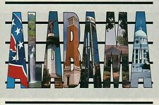 Large Letter of Alabama, Dixie Flag, State Capitol, Desota Falls etc. - Postcard