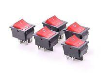 5pcs Light On/off Rocker Switch 250V/15A 125/20A Red