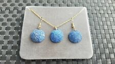 Blue Colored Azurite Necklace and Earring Pierced Set with Gold Colored Chain
