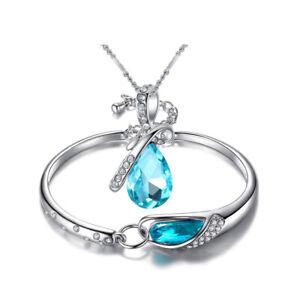 Fashion Necklace& Bracelet Jewelry Set Blue Topaz Gemstone Silver Christmas Gift