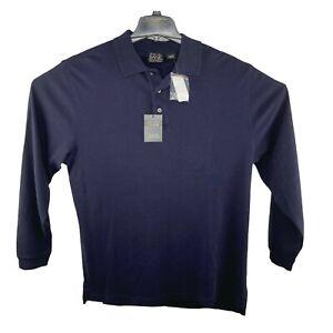 NWT JOS A BANK Men's LS Travelers Collection Sz Lg Blue Golf Polo Shirt $89.50