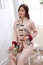 New Chinese Style Women Silk Pajamas Sets Sleepwear Nightdress Nightgown #808