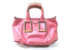 Auth Chloe Ethel PinkBeige Brown Leather Handbag