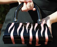 TIMMY WOODS RARE! MINAUDIERE CLUTCH BAG HAND CARVED ZEBRA ELLE PINK BLACK WHITE