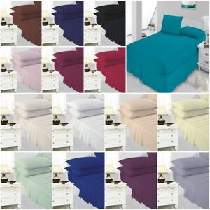 Plain Fitted Bed Sheets Quality 100% Poly Cotton Single 4 Foot Double King Size