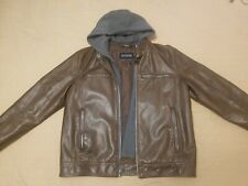 Men's Guess Brown Leather Jacket with Brown Removable Zip Up Hood - Large