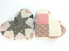 2 Vtg Quilt Heart Pillow Patchwork Feed Sack Hand Sewn Country Decor Craft Home