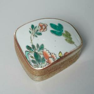 VINTAGE CHINESE SILVER PLATE TRINKET BOX W/ HAND PAINTED PORCELAIN SHARD LID
