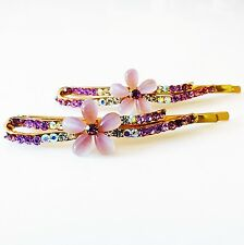 USA SELLER Bobby Pin Rhinestone Crystal Hair Clip Hairpin Flower Gold Purple M26