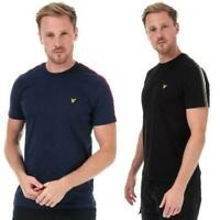 Mens Lyle And Scott Taped T-Shirt in Navy Blue and Red, Black and Green