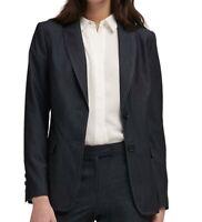 DKNY Womens Blazer Gray Size XS Dark-Denim Notched-Collar 2-Buttons $129 382