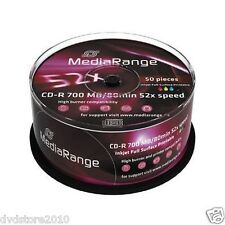 100 MEDIARANGE CD-R 52x 700MB/80min Inkjet Printable print stampabili cd r mr208