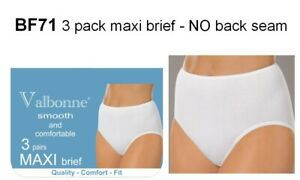 VALBONNE SMOOTH 95% COTTON 3 PAIR PACK MAXI BRIEFS WHITE OR BLACK VARIOUS SIZES