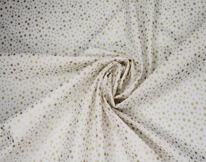 Christmas Cotton Fabric Xmas Shiny Metallic Mini Gold Stars Festive Advent Noel