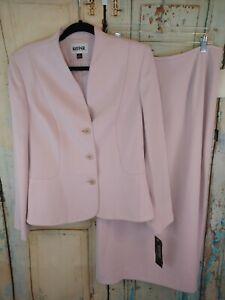 Kasper Skirt Suit Light Pink 3 Button Blazer New Womens Sz 12 Business MSRP $280