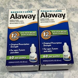 Bausch + Lomb Alaway Eye Itch Relief Drops 0.34oz ( Lot of 2 ) Exp 11/21 - New